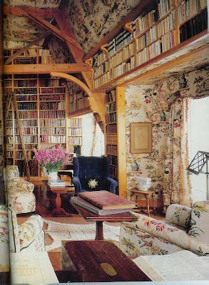 flower papered library uncredited home decor