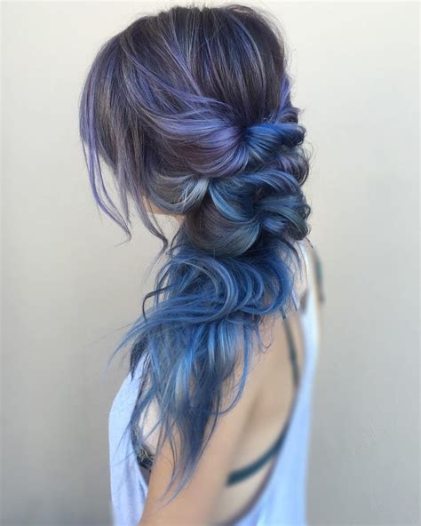 pictures of blue hair braided into brown hair 38 perfectly imperfect messy hairstyles for all lengths