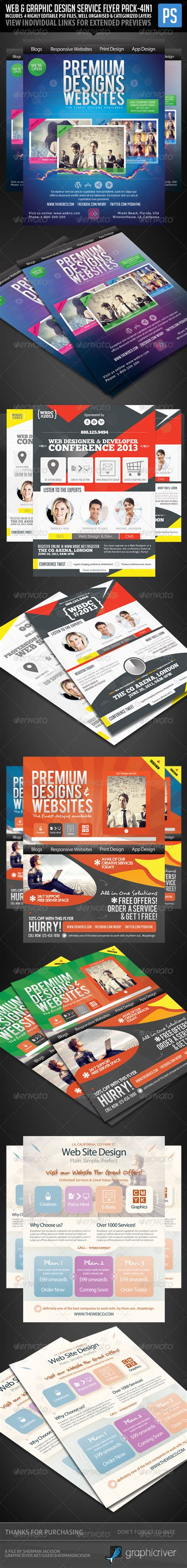 Webe Set 4in1 catering service psd flyer templates free