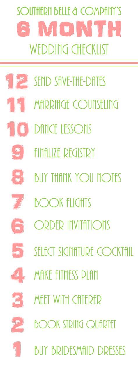 printable 4 month wedding checklist wedding wednesday 6 month checklist the big someday