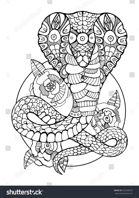 snake mandala coloring pages cobra snake coloring book adults vector stock vector
