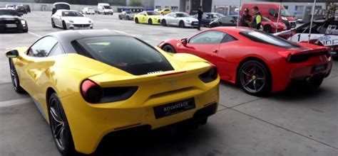 ferrari 488 vs 458 ferrari 488 gtb vs 458 speciale with novitec exhaust