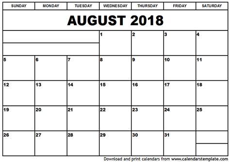 Kalender Augustus 2018 August 2018 Calendar Template