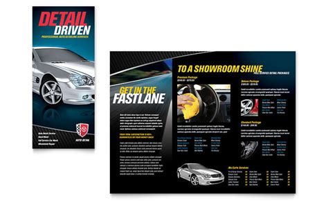 Auto Detailing Tri Fold Brochure Template   Word & Publisher