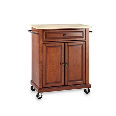 crosley natural wood top portable rolling kitchen cart