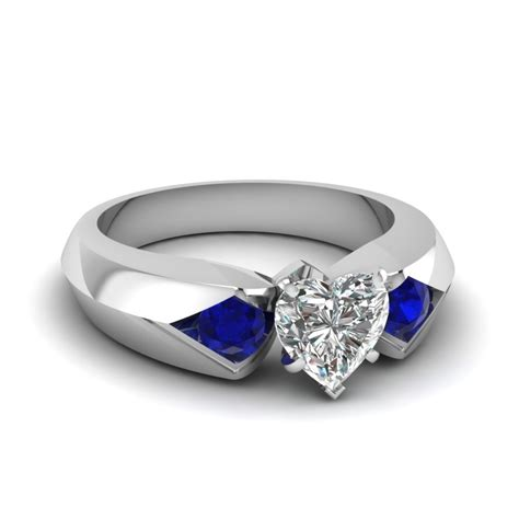 Blue Sapphire 14 30 Ct shaped knife edge 3 engagement ring with