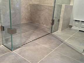 curbless shower with a linear drain home