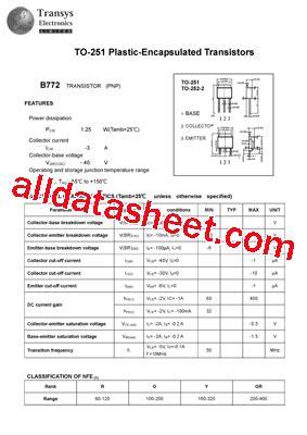 transistor b772 datasheet b772 datasheet pdf transys electronics limited