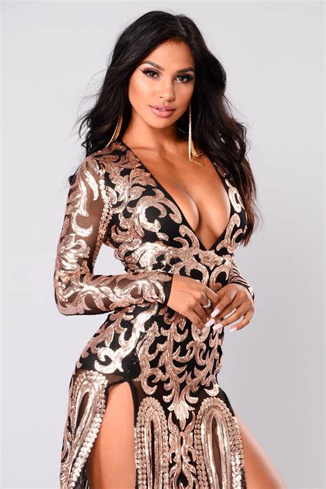 Queen Of Spades Sequin Dress   Black/Rose