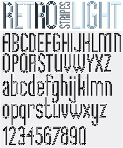 design lines font retro triple line rounded bold font stock vector