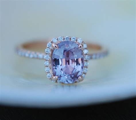 Blue Sapphire 8 78ct lavender sapphire ring engagement ring 1 78ct cushion