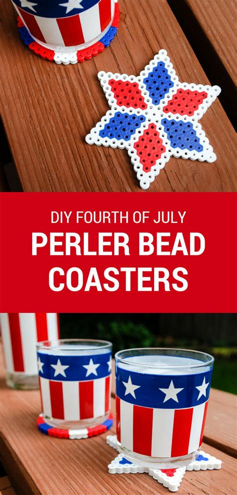 fourth of july diy fourth of july crafts perler bead diy coasters merriment design