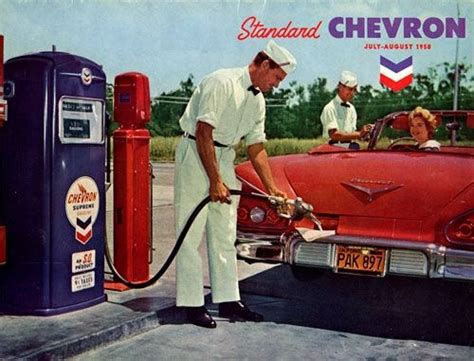 vintage gas station attendant chevy convertible