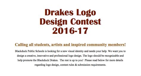 design a logo competition rules drakes logo design contest blackduck school isd 32