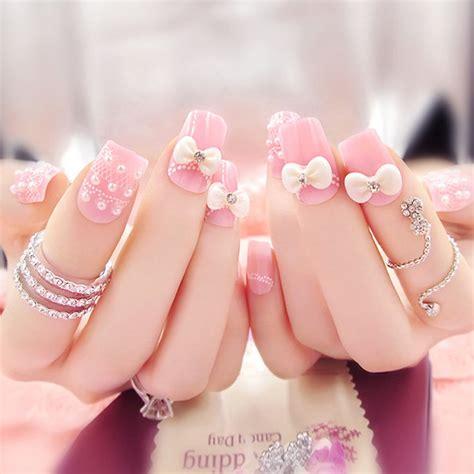 Kutex 2 In 1 Glitter Kutek Kuku Nail Menicure Set Paket Bling pink nails with pearls and 3d bow design nail