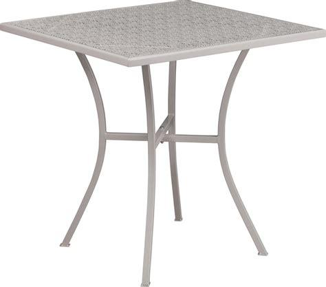 28 square light gray indoor outdoor steel patio table