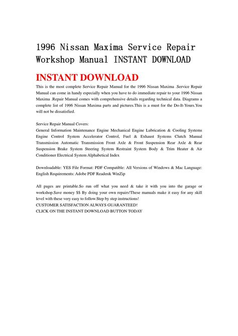 electric power steering 1996 nissan maxima navigation system 1996 nissan maxima service repair workshop manual instant download by chen jia issuu