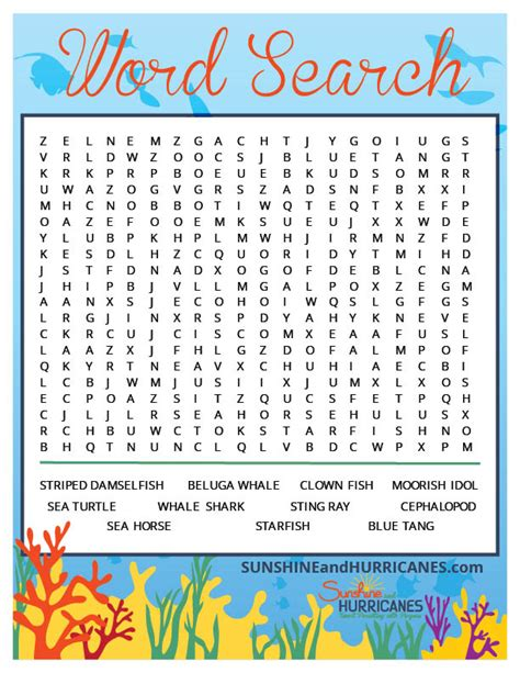 Search Finding Finding Dory Word Search