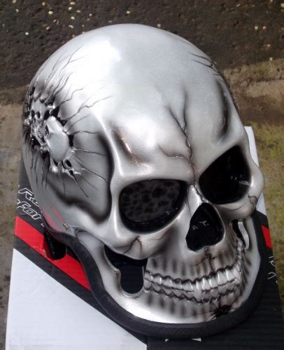 Motorcycle Helmet Skeleton Death Skull Rider Ghost Silver ... Imitation Leather