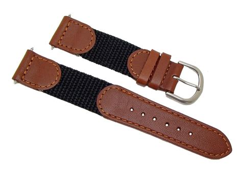 19mm Black & Brown Leather & Nylon Watch Band Replacement