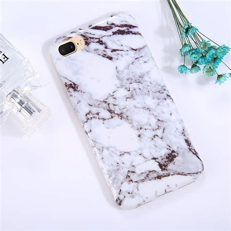 for iphone 8 plus 7 plus ink marble pattern tpu coverage shockproof protective back cover