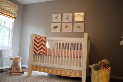 taupe walls contemporary nursery benjamin cumulus cloud castle design