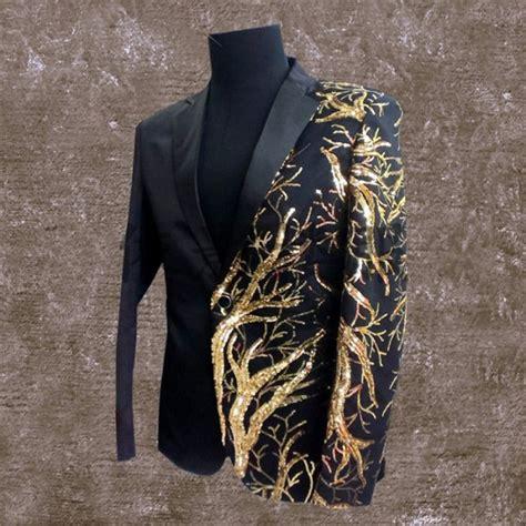 gold pattern blazer gold blazer for men stage costumes club singer dragon