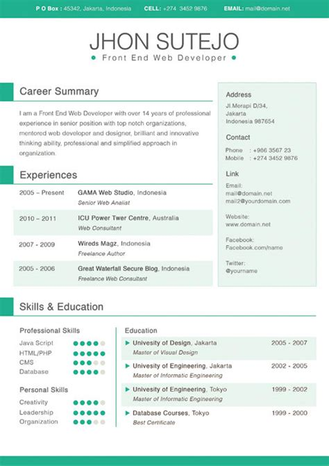 Free Awesome Resume Templates by 20 Awesome Designer Resume Templates For Free