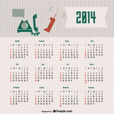 Calendario Retro 2014 Calendar Retro Communication Concept Design Vector