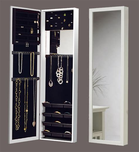 Over The Door Mirrored Jewelry Armoire