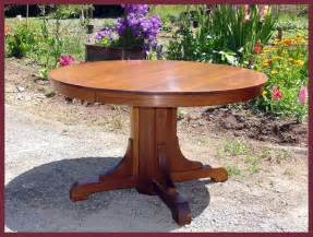 48 Round Pedestal Dining Table Voorhees Craftsman Mission Oak Furniture Original