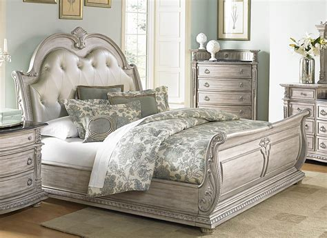 palace ii white wash bonded leather sleigh bedroom set  homelegance   coleman