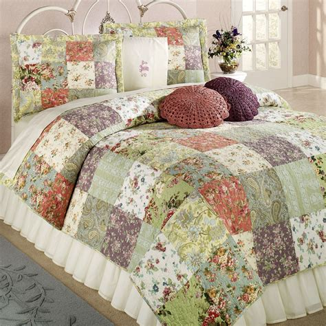 Patchwork Cotton - blooming prairie cotton patchwork quilt set bedding