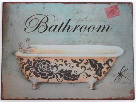 Bathroom Plaque by Vintage Bathroom Sign Tin Metal Wall Plaque Ebay