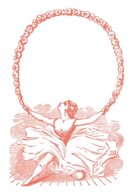 vintage clip art ballerina  garland graphic frame  graphics fairy
