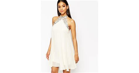 swing dress with high neck lipsy embellished high neck babydoll swing dress in