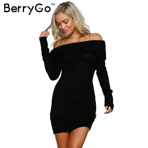 Bodycon Dress Winter berrygo autumn winter shoulder knitted bodycon dress sleeve dress 2016