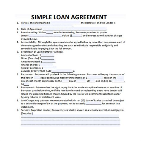 free simple loan agreement template loan contract template 20 exles in word pdf free