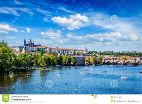 paddle boat prague prices view of vltava river and gradchany prague stock photo
