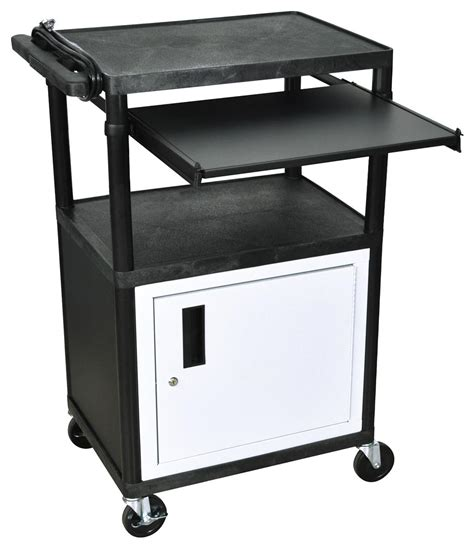 multimedia cart with locking black multimedia carts w pull out front shelf casters