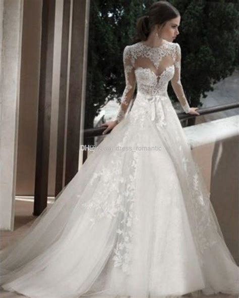 lace sheer wedding gowns 2015 berta sleeve sheer lace wedding dresses applique