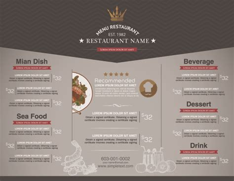 restaurant menu price list creative vector 01 vector