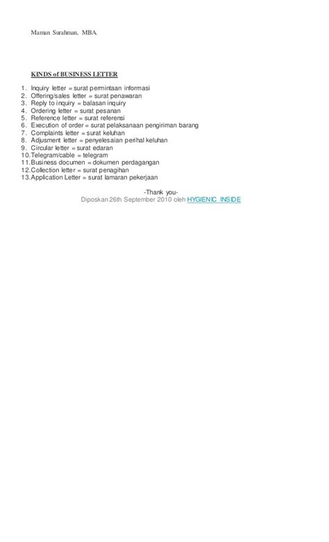 Korespondensi Bahasa Indonesia materi korespondensi bahasa inggris