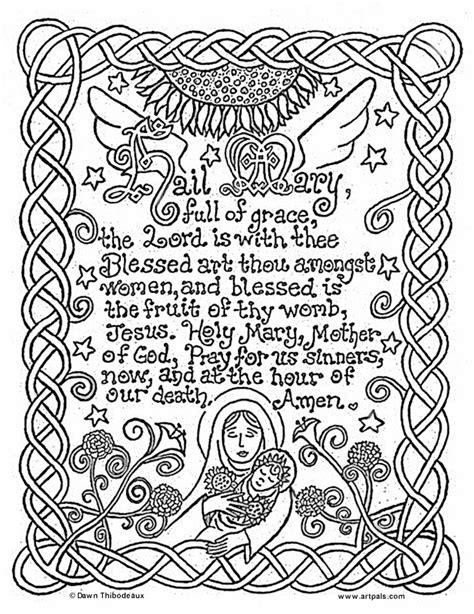 coloring page catholic catholic printables hail mary catholic coloring page