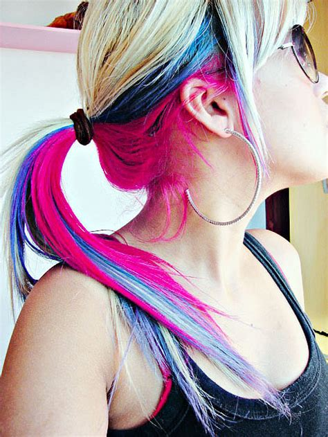 cute colors colorful cute dyed hair fashion girl hair image