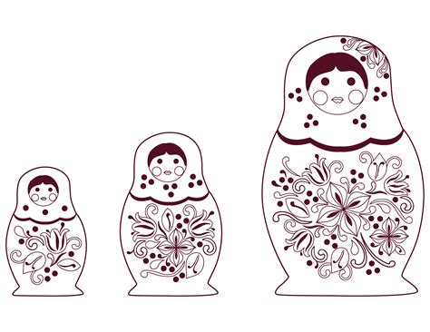free russian dolls coloring pages