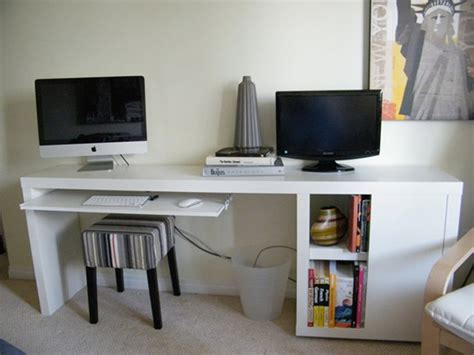 ikea desk storage a narrow diy desk with slim storage ikea hackers apartment therapy