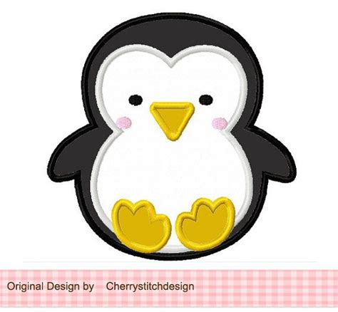 penguin applique baby penguin applique 4x4 5x7 6x10 machine embroidery