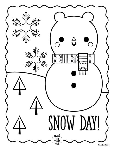 nod printable coloring pages snow day honest to nod