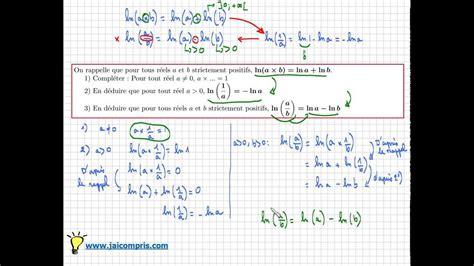 a b fonction logarithme n 233 p 233 rien comment d 233 montrer que ln a